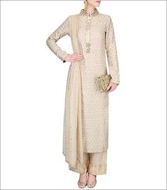 Vikram Phadnis presents Light beige foil print sequinned kurta set available only at Pernia's Pop Up Shop. Ethnic Outfits, Indian Outfits, Fashion Outfits, Indian Clothes, Women's Fashion, Most Beautiful Dresses, Pretty Dresses, Indian Attire, Indian Wear