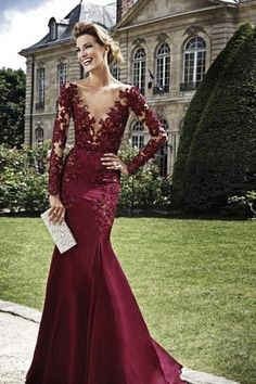 Sexy See Through Long Sleeve Lace Mermaid Burgundy Prom Dresses 2016 vestido formatura ballkleider