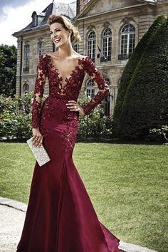 Sexy See Through Long Sleeve Lace Mermaid Burgundy Prom Dresses 2016 vestido formatura ballkleider