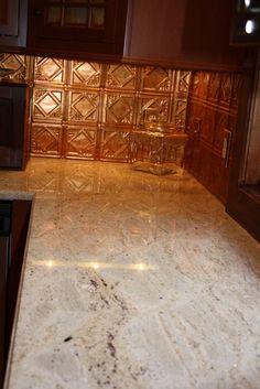 copper backsplash love the countertop