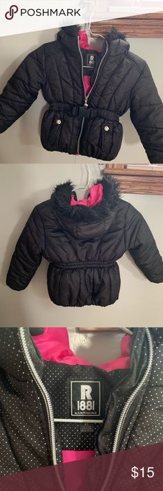f9641575c Little Girls Toddler Coat Black with silver accent. Hot pink interior.  Gently used.