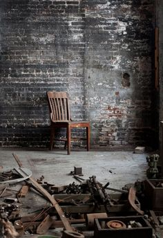Industrial space. Love the black brick wall!