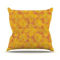 KESS InHouse JS3003AOP03 18 x 18-Inch 'Patternmuse Jaipur Saffron Yellow Orange' Outdoor Throw Cushion - Multi-Colour -- You can get more details by clicking on the image. #GardenFurnitureandAccessories