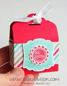 Video Tutorial for box made with Stampin' Up! Tag Topper Punch #valentine