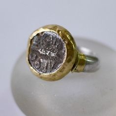 Ancient coin ring, Silver and Gold Coin Ring, Ancient Jewelry, Gold and Silver Ring, Chunky Silver Ring by MayaOfir on Etsy https://www.etsy.com/listing/219383090/ancient-coin-ring-silver-and-gold-coin