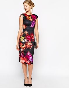 067d641a5049 Enlarge Ted Baker Midi Dress in Cascading Floral Print Runway Fashion  Outfits