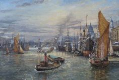 Victorian Shipping in the Pool of London by John Sutton   1970s