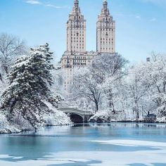 New York City Boroughs ~ Manhattan | Central Park in winter 2017, with the San Remo apartment building in the distance