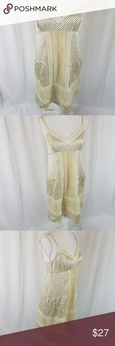 "BCBGMAXAZRIA Silk Dress size M BCBGMAXAZRIA Silk Dress size M  Cream with tiny squares and square holes add a touch of classy sex appeal  27"" from armpit to bottom  B31 BCBGMaxAzria Dresses"