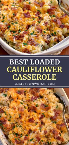 Vegetable has never tasted this good! Loaded Cauliflower Casserole is a real winner. Steamed cauliflower is combined with cream cheese, sour cream, sharp cheddar, Monterey Jack, bacon, and chives for a filling meal even picky eaters will love. Pin this recipe for later! Loaded Cauliflower Casserole, Vegetable Casserole, Califlower Casserole, Cauliflower Recipes, Cauliflower Side Dish, Vegetable Dishes, Vegetable Recipes, Vegetable Cream Cheese Recipe, Gluten Free Recipes