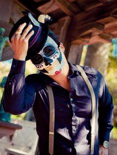 Poker Face Day of the Dead Mask - Mans Groom Skull Tattoo Flash skeleton Dia de los muertos Joker - Mustache Version Ready to Ship. $98.00, via Etsy.