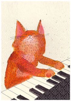 Cat playing piano print - ginger music cat print, play him off - Allgemein / Tiere / Zitate - Cats Illustration Inspiration, Illustration Art, Cat Illustrations, Cute Kittens, Cats And Kittens, Crazy Cat Lady, Crazy Cats, I Love Cats, Cool Cats