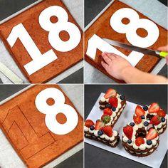 Passo a passo de como fazer cortar bolo de números.
