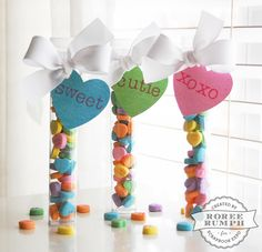 Conversation Heart Tags with the plastic tubes, such a cute idea!