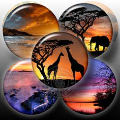 Sunsets  2625 in circles  Digital Collage Sheet by CobraGraphics, $3.90