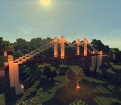 Minecraft Suspension Bridge in the Swamp #Crimsoncraft Minecraft Decorations, Minecraft Ideas, Seattle Skyline, New York Skyline, Minecraft Bridges, Minecraft Construction, Suspension Bridge, Lego, Explore