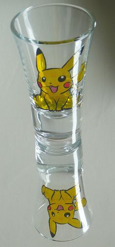 Pokemon Pikachu Painted Shot Glass by ZenCreations on Etsy