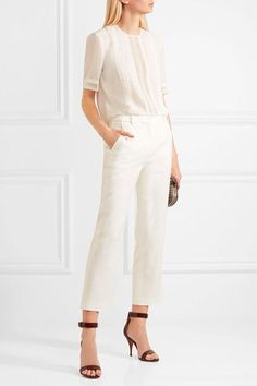 Ivory silk  Concealed hook and zip fastening at back 100% silk; trim: 80% cotton, 20% polyester Dry clean Made in Italy
