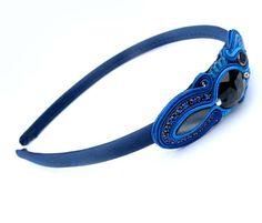 Headband Soutache Cobalt Embroidered Hand Made por IncrediblesTN, $15.00