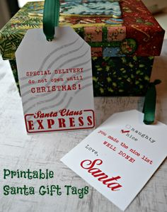 Use these free printable Santa Gift Tags on your Christmas presents to keep Santa's identity a secret! They are perfect for decorating gifts from Santa or for Secret Santa exchanges at school or work. Christmas Present Tags, Christmas Tags Printable, Free Printable Gift Tags, Handmade Christmas Gifts, Christmas Fun, Christmas Planning, Free Printables, Christmas Ornaments, Diy Food Gifts