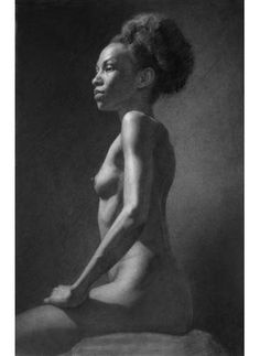 """bodies series, young woman sitting 16""""x22"""", graphite on paper, 2010"""