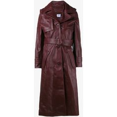 Vetements Leather Trench Coat (€2.995) ❤ liked on Polyvore featuring outerwear, coats, leather trenchcoat, real leather coats, red trench coat, leather trench coat and knee length trench coat