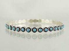 Sterling Silver Turquoise Bangle Bracelet - Zuni | Native American Jewelry