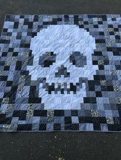 Black and white, king size skull quilt.