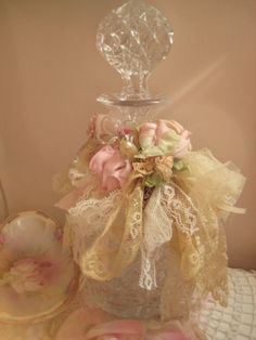 Absolutely stunning perfume bottle decorated with lots of luscious layers of lace, tulle, ribbons -MyLuLaBelles.com- ~Love~