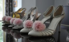 Pink chiffon shoe clips I made for my bridesmaids.  Click the link for a tutorial.