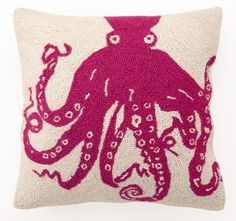 Red Octopus Hooked Pillow