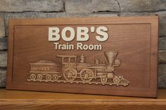 Personalized Train Sign Carved Sign by SmokyMountainSigns on Etsy