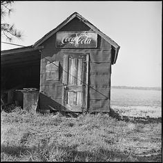Walker Evans - Shack with Coca-Cola Sign from Yale School of Art Field Trip to Eastern Shore of Virginia (1972)