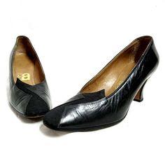 Vintage shoes pumps 60s 5.5 black leather silk 35.5 goth