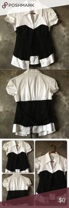 Corset Style Blouse In good condition. Does not stretch. Tag says size L, but would fit a M or S size better (In my opinion) & would be best suited for someone who wears an A or B cup. (No copyright infringement intended with the above listed photos.) Tops