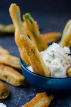 Fried green beans starters with mascarpone cheese aoli