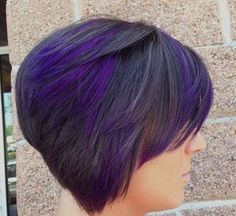 Stacked Short Haircut with Purple and Black Stack