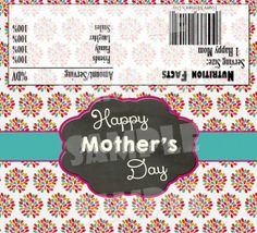 Printable MOTHER'S DAY CANDY Bar Wrappers - Mother's Day Hershey Candy Bar Wrappers - Diy Mother's Day Gift - Flowered Candy Bar Wraps