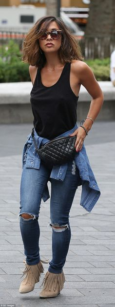 Myleene Klass was spotted rocking a quilted leather bum bag on her way to work at Smooth Radio