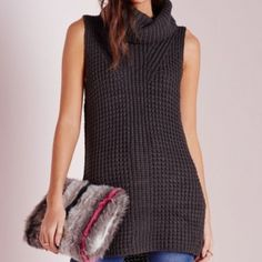MISSGUIDED turtleneck sleeveless sweater In perfect condition! Style it with a pair of jeans, leather leggings, or even wear it as a dress. Missguided Tops