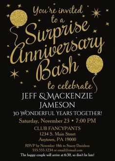 50th anniversary invitation golden invite party printable surprise 30th anniversary party invitations black gold balloons this fun festive surprise wedding anniversary party stopboris Image collections