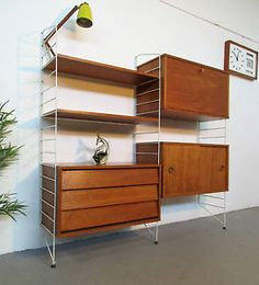 VERY-STYLISH-RETRO-MID-CENTURY-SWEDISH-STRING-SHELVING-UNIT-BY-NISSE-STRINNING Steel Furniture, Antique Furniture, Wood Steel, Shelving, Bookcase, Art Deco, Mid Century, Europe, The Originals