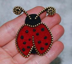 Zipper/Recycled Felted Wool Sweater Zipper Brooch/ Zipper Pin - Red Ladybug.