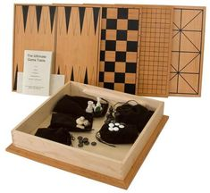 Amish Cherry and Maple Wood Game Box Set with 4 Games 5 board games in 1! Games include Chess, Checkers, Aggravation, Backgammon and Go. Pieces and instruction manual included. Handcrafted in solid wood. #boardgames