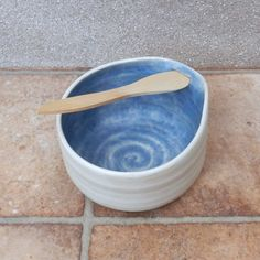 Dip Bowl Or Pate Serving Dish Wheel Thrown Stoneware Pottery With A Swedish Butter Knife by Caractacus Pots on Gourmly