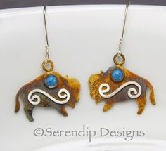 Silver Patina Bison Earrings with Denim by SerendipDesignsJewel, $54.00