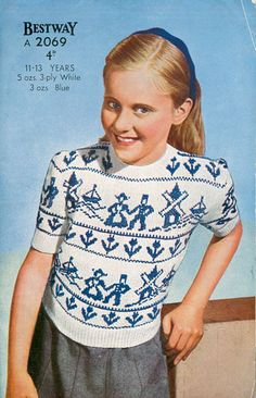 vintage fair isle knitting pattern for children: dutch pattern of a jolly jumper Fair Isle Knitting Patterns, Knitting Stitches, Knitting Yarn, Knit Patterns, Vintage Patterns, Sweater Patterns, Knitting For Kids, Knitting Ideas, Fair Isles