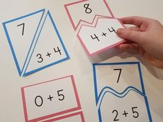 Kindergarten students are expected to leave kindergarten knowing their addition math facts to This set of morning math tubs, or math ce. Math Lesson Plans, Math Lessons, Math Activities For Kids, Teaching Kids, Math Stations, Math Centers, Math Tubs, Math Courses, Physical Education Games