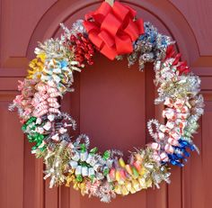 Large Christmas Centerpiece Candy Wreath by CandyWreathsbyCarla