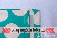 DIY Tutorial: DIY Sewing / DIY sew cloth napkins with an easy mitered corner - Bead&Cord